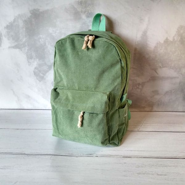 Тканевый рюкзак женский вельветовый - бирюзовый
