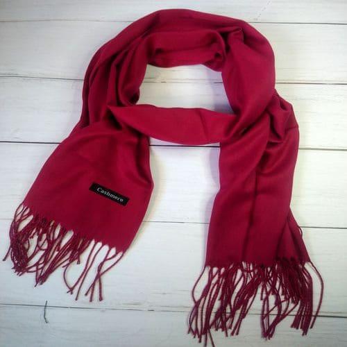 Женский шарфик палантин, длинный кашемировый платок - красный 190x70 см