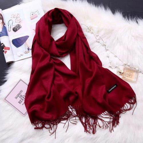Жіночий шарфик палантин, довга кашемірова хустка - червона