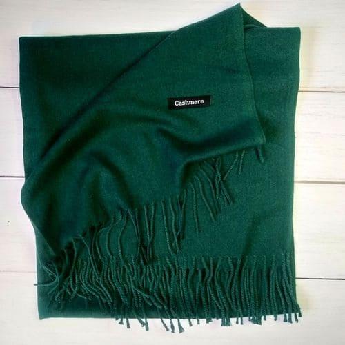 Женский шарф палантин, длинный кашемировый платок - зеленый 190x70 см