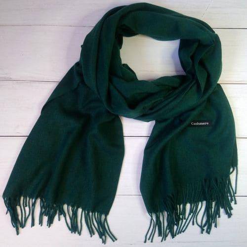 Женский шарф палантин, длинный кашемировый платок - зеленый