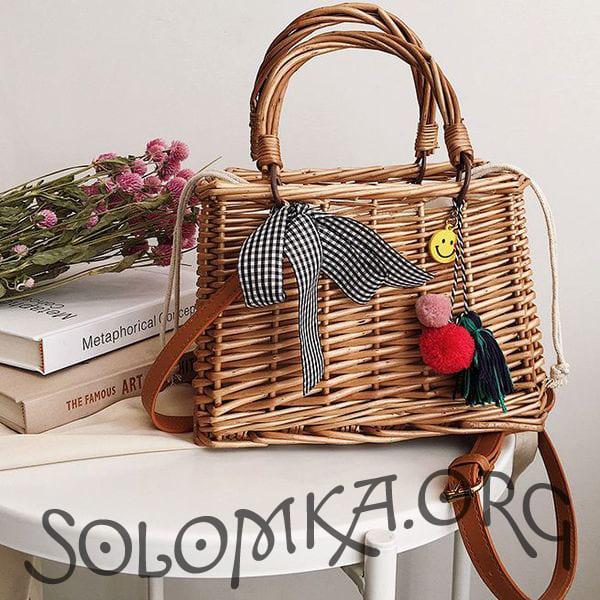 Пляжна сумка-кошик з ротанга