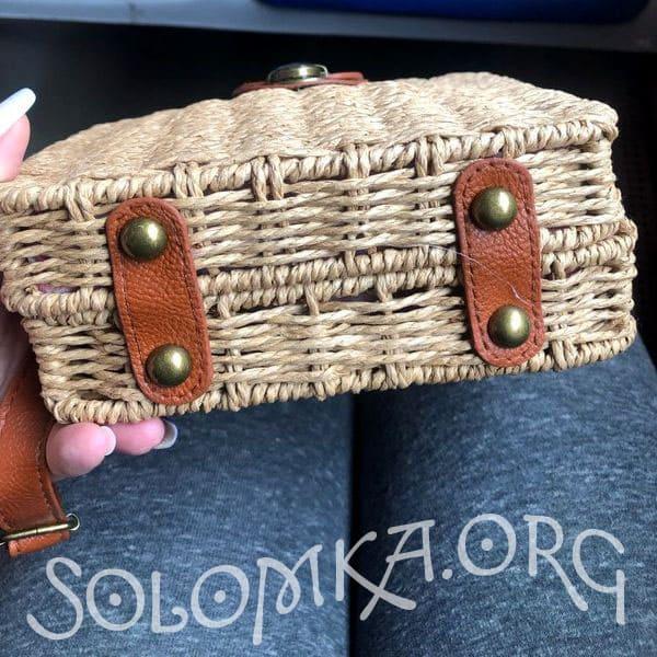 Соломенная бежевая сумка через плечо - ручная работа