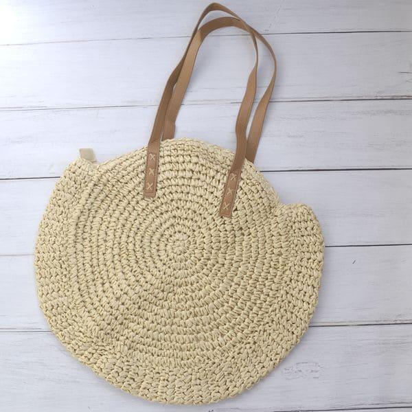 Круглая соломенная сумка на плечо