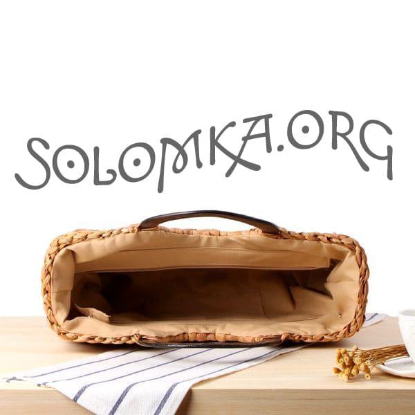Женская сумка из соломы с круглой деревянной ручкой