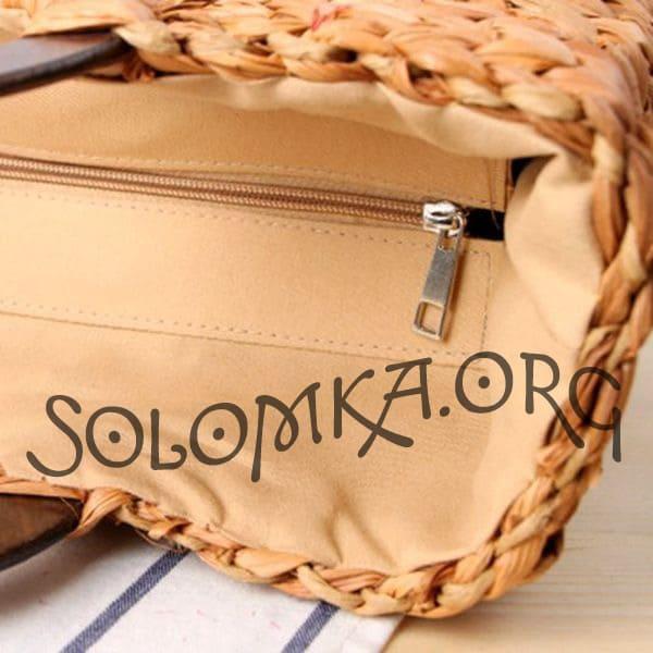 Жіноча сумка з соломи з круглою дерев'яною ручкою