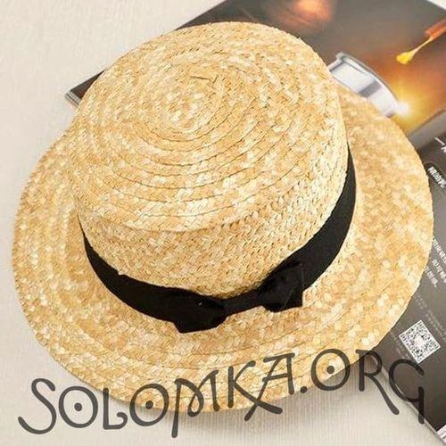 Соломенная шляпа канотье с черным бантом