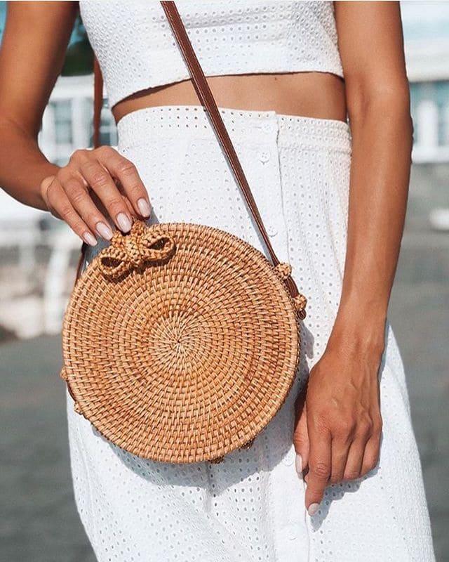 Сумка из ротанга круглая бали-сумка 20x8 см