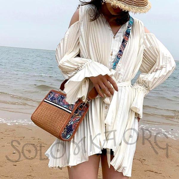 Плетеная соломенная сумка-клатч женская