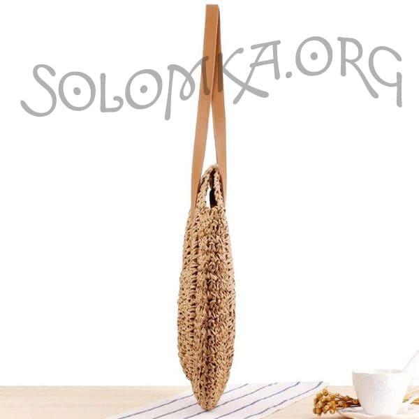 Темна плетена сумка на плече