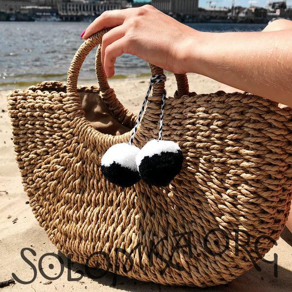 Велика жіноча солом'яна сумочка з помпоном