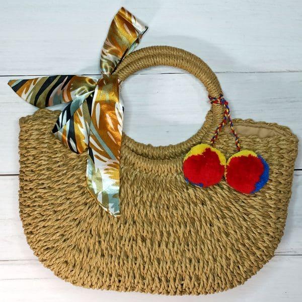 Женская соломенная сумка с помпоном