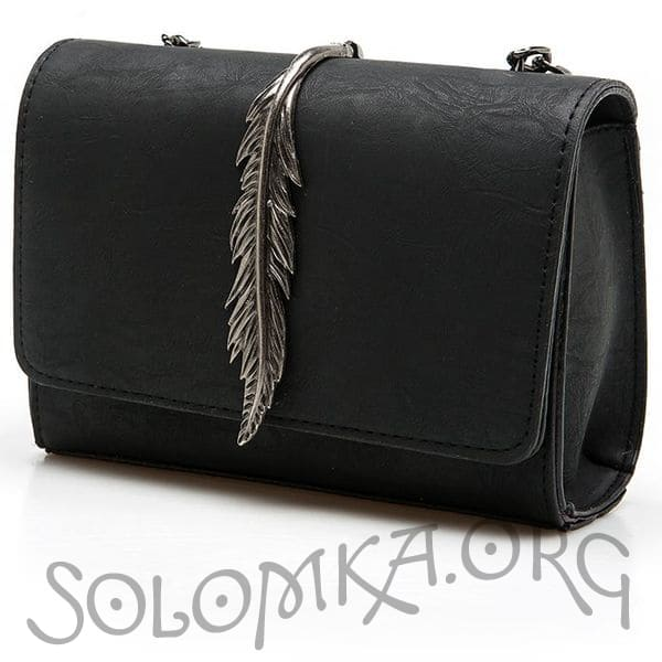 Чорна сумка на ланцюжку. Клатч зі штучної шкіри з пір'ям