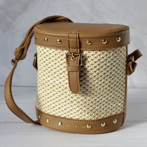 Summer beach bag with rattan shoulder for women 2019