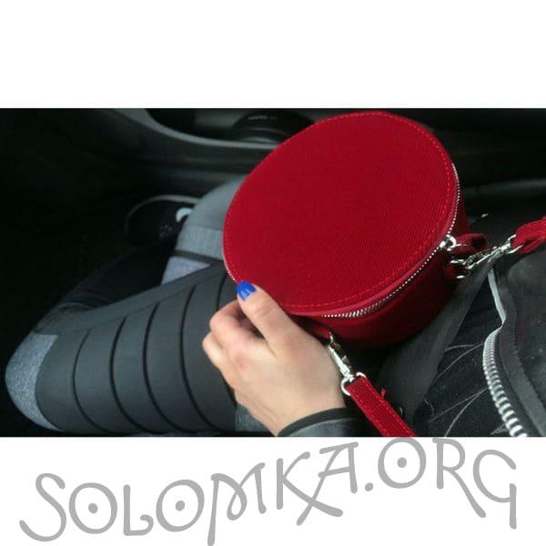 Красная бархатная (вельветовая) женская сумочка Zara