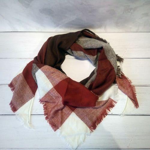 Кофейный дизайнерский шарфик плед для женщин