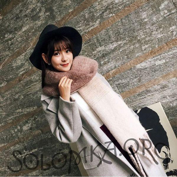 Осінньо-зимовий великий жіночий шарф ковдру з вовни