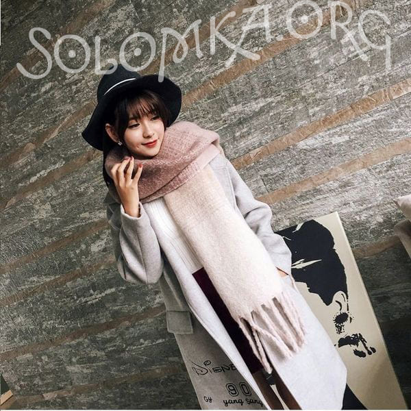 Осенне-зимний большой женский шарф одеяло из шерсти