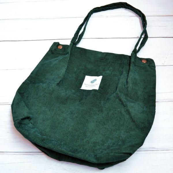 Тканинна сумка для покупок вельветова - зелена
