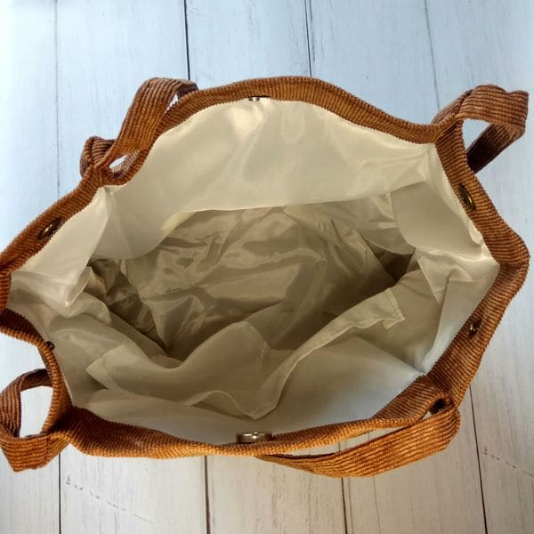 Сумка шоппер з тканини - вельветова в рубчик