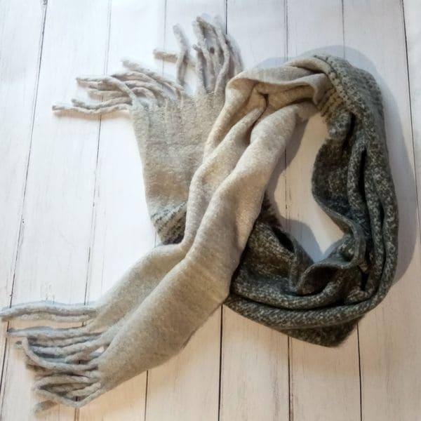 Теплый длинный шарфик - черный