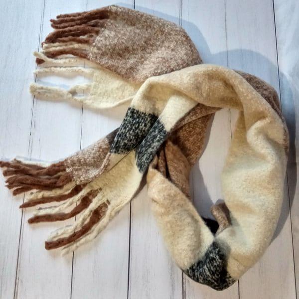 Теплий довгий шарф - кавовий