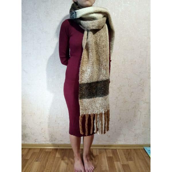Теплый длинный шарф - кофейный 235x50 см