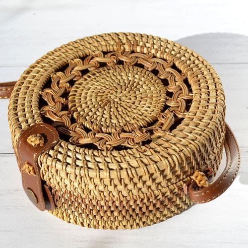 Сумка з ротангу з візерунком із плетіння
