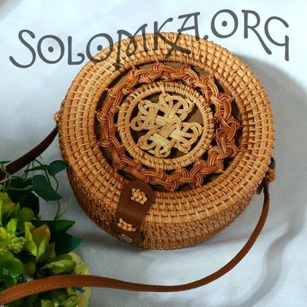 Сумка из ротанга с узором плетением 20x8 см