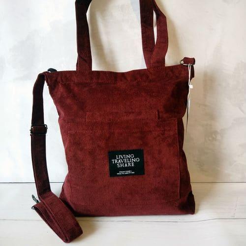 Женская вельветовая сумка из ткани на плечо - вишневая
