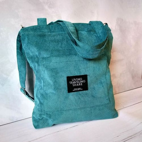 Женская вельветовая эко сумка на плечо из ткани - зеленая
