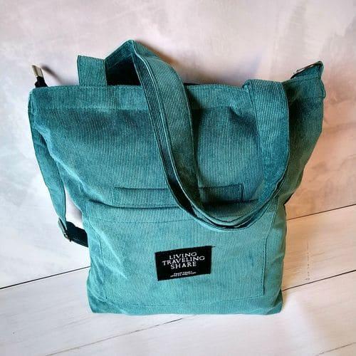 Жіноча вельветова еко сумка на плече з тканини - зелена