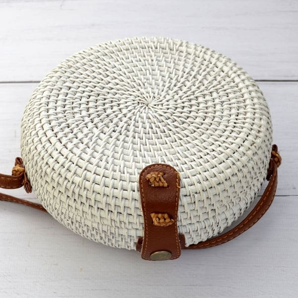 White handmade rattan bag