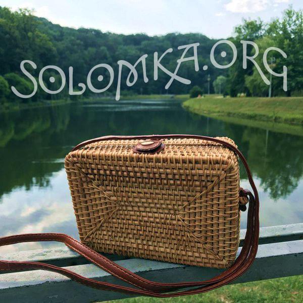 Квадратная сумочка из ротанга, плетеная в стиле Винтаж Ретро 18x8 см
