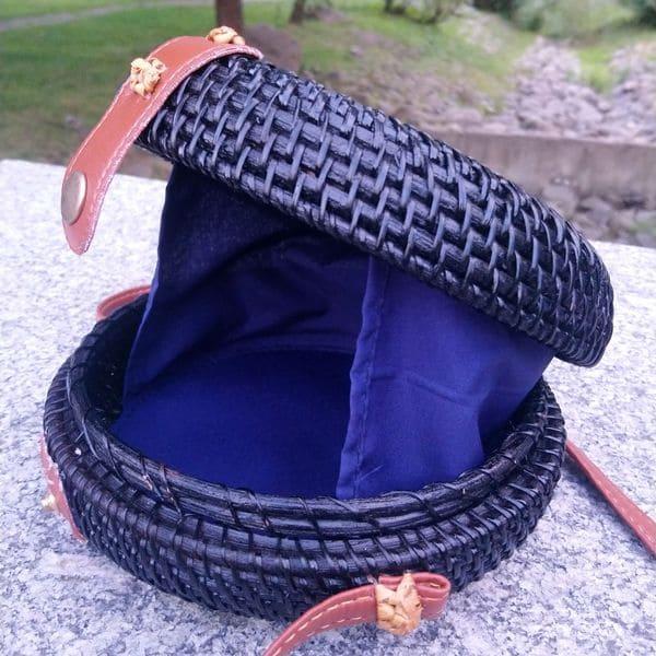 Летняя плетеная ротанговая сумка черная 18x8 см
