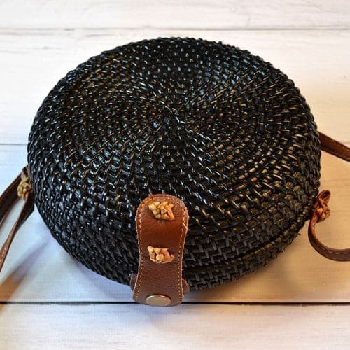 Summer braided black straw rattan bag
