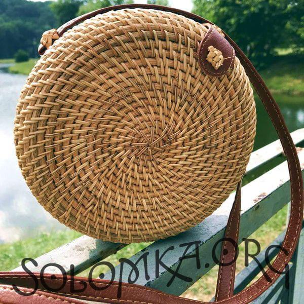 Круглая сумка из ротанга с Бали без узора