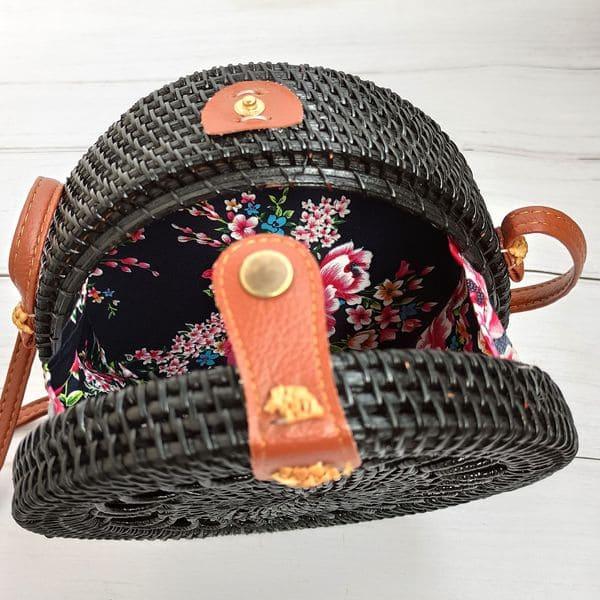 Черная круглая плетеная сумка из ротанга в богемном стиле 20x8 см