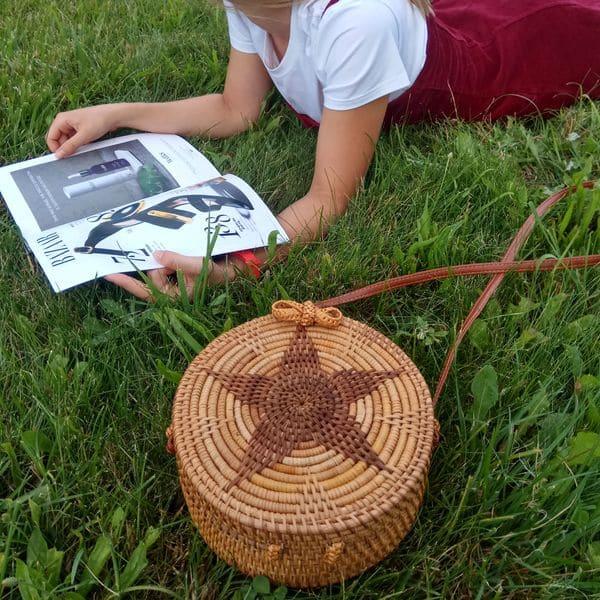 Женская сумка из ротанга с цветком-звездой 2020 20x8 см