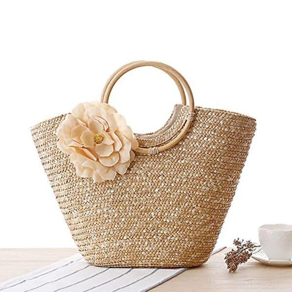 Женская соломенная сумка с цветком, летняя плетеная сумка 40x28 см