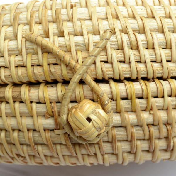 Кругла сумка з ротанга BaliBag з візерунком із застібкою петлею 18x8 см