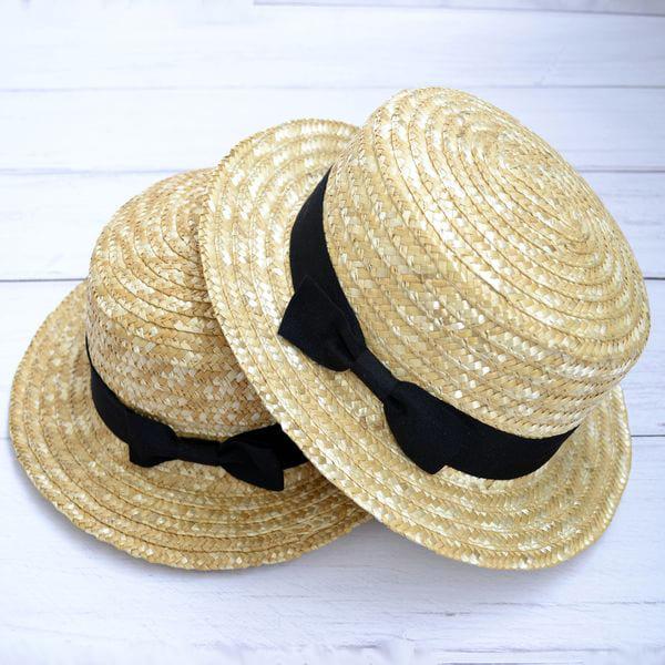 Дитячий солом'яний капелюшок з чорною стрічкою