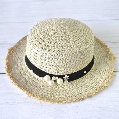 Солом'яний капелюх канотьє з перлинами