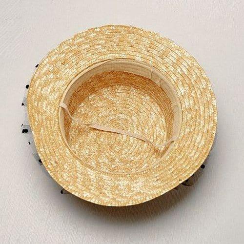 Дитячий солом'яний капелюшок із фатіновою сіточкою