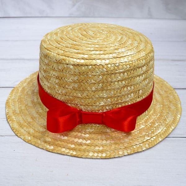 Солом'яний капелюх канотье з червоною стрічкою