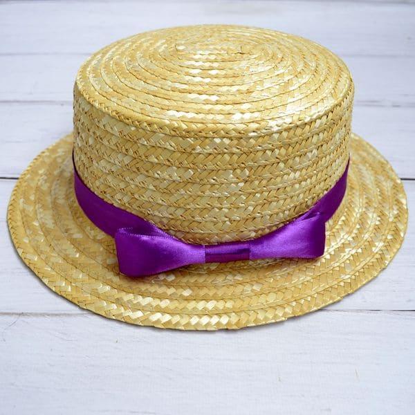 Соломенная шляпка канотье с фиолетовой лентой