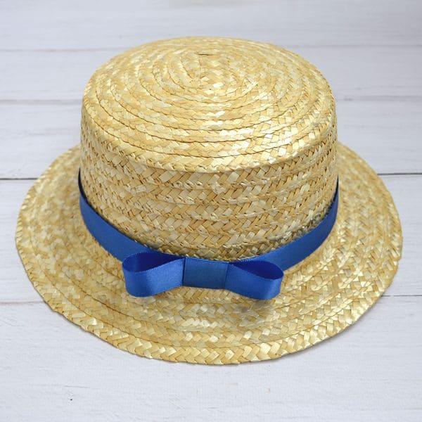 Соломенная шляпка канотье с синей лентой