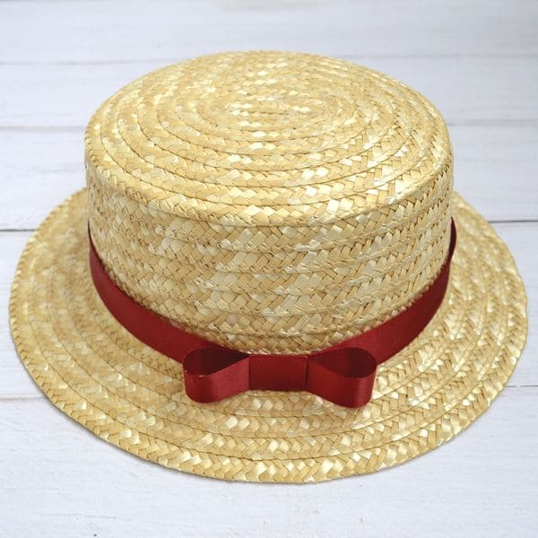 Соломенная шляпа канотье с бордовой лентой