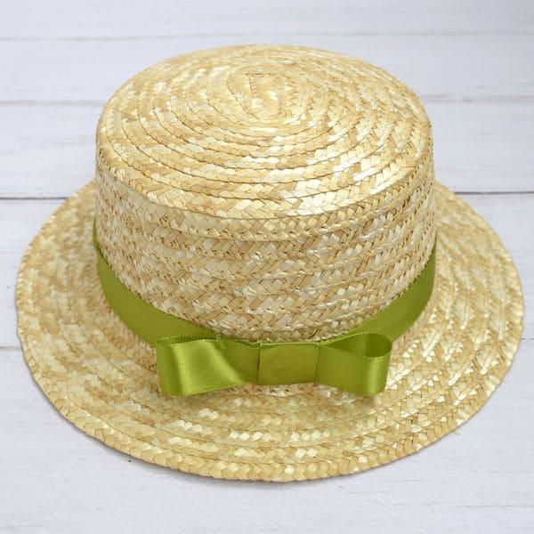 Солом'яний капелюшок канотье з салатовой стрічкою
