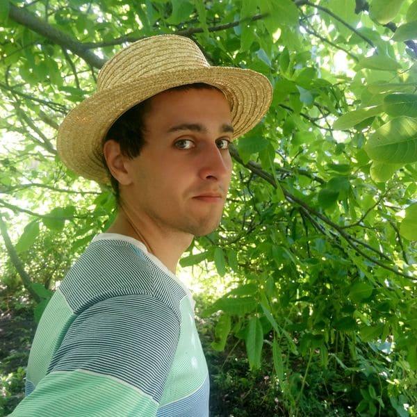 Мужская соломенная шляпа канотье (брыль)
